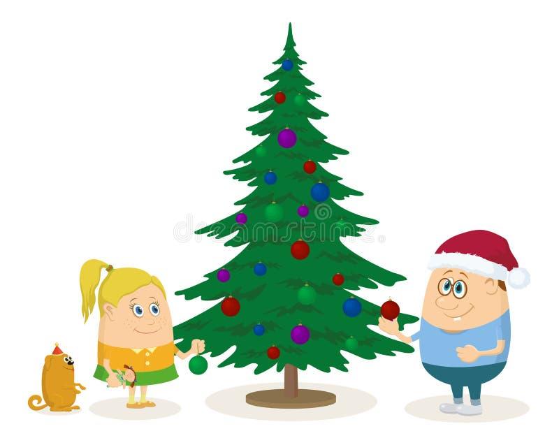 Children and Christmas fir tree vector illustration