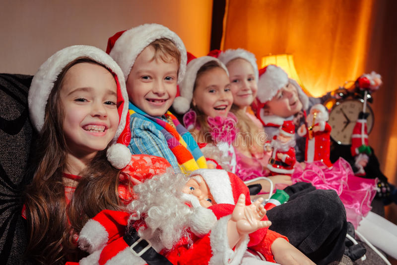 Children in Christmas royalty free stock image