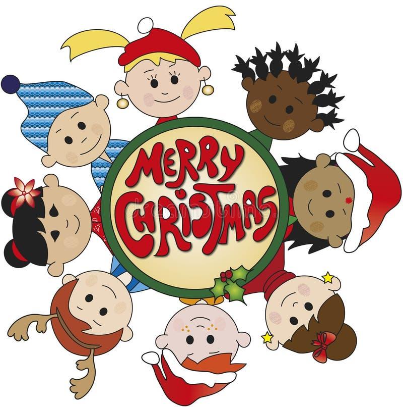 Children of christmas vector illustration