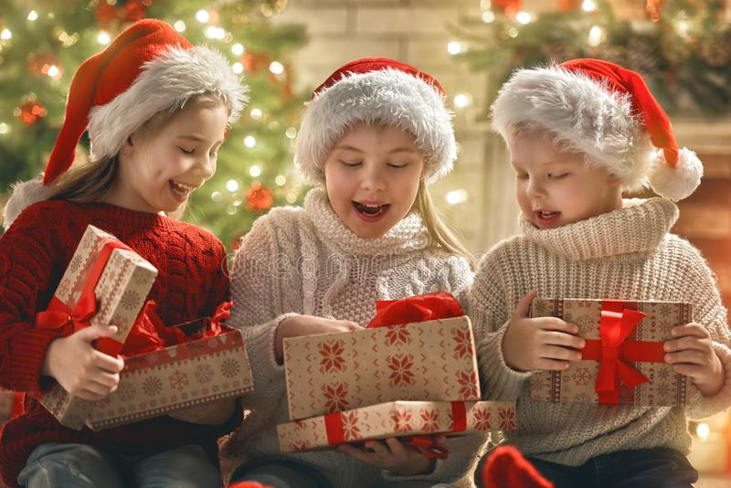 Children at Christmas royalty free stock photography
