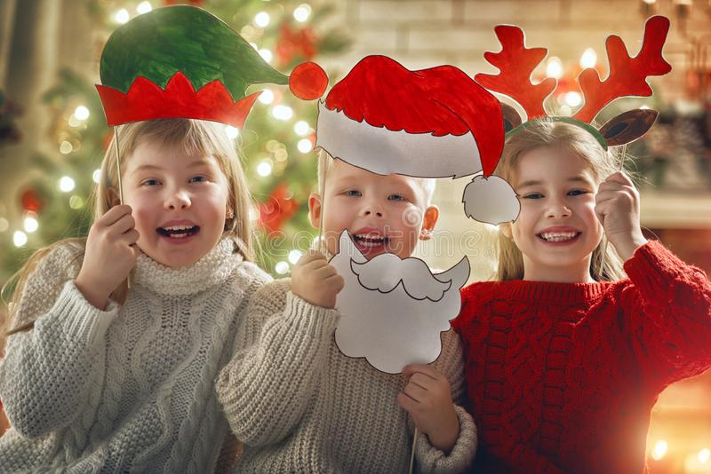 Children at Christmas royalty free stock photo