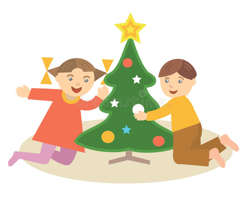 Children_with_christmass_tree illustration libre de droits