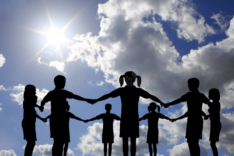 Children circle on real sunny sky stock photos