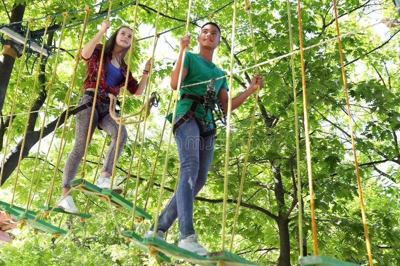 Children climbing in adventure park. Summer camp. Children climbing in adventure park outdoors. Summer camp royalty free stock photography