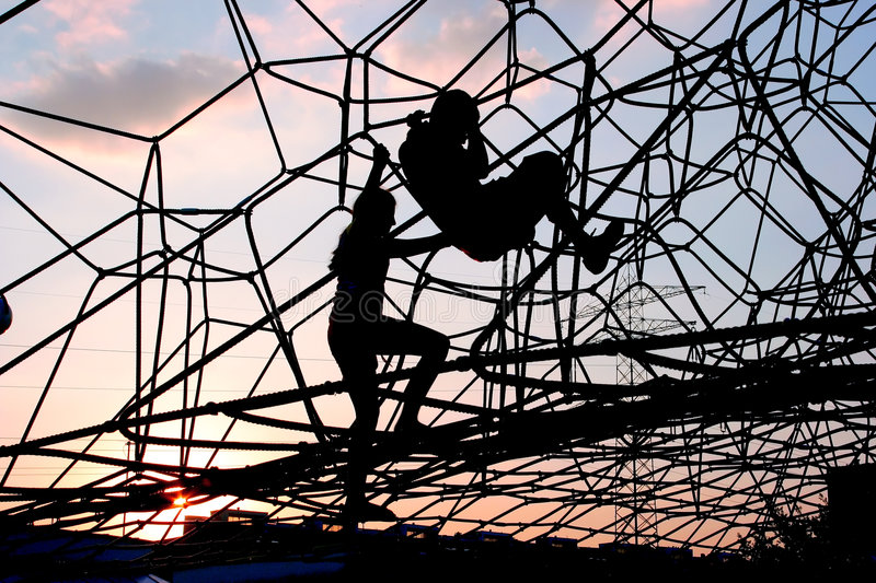 Download Children on climbing frame stock photo. Image of dawn - 5582826