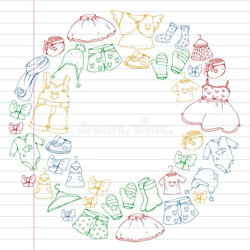 Children clothes. Background for babies, kids patterns. Children clothes. Background for babies, kids patterns vector illustration