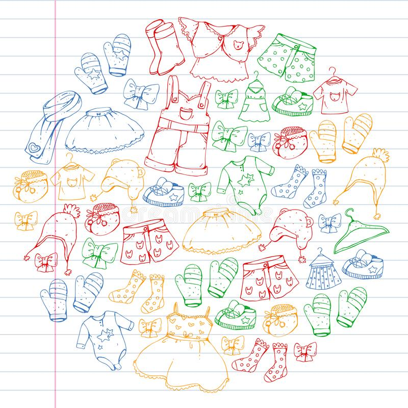 Children clothes. Background for babies, kids patterns. Children clothes. Background for babies, kids patterns stock illustration