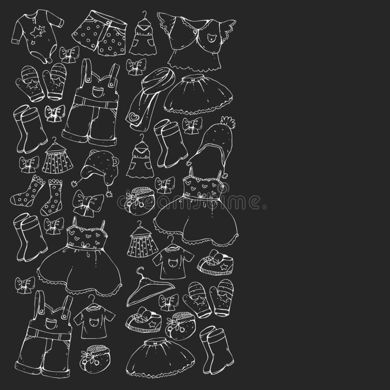 Children clothes. Background for babies, kids patterns. Children clothes. Background for babies, kids patterns royalty free illustration