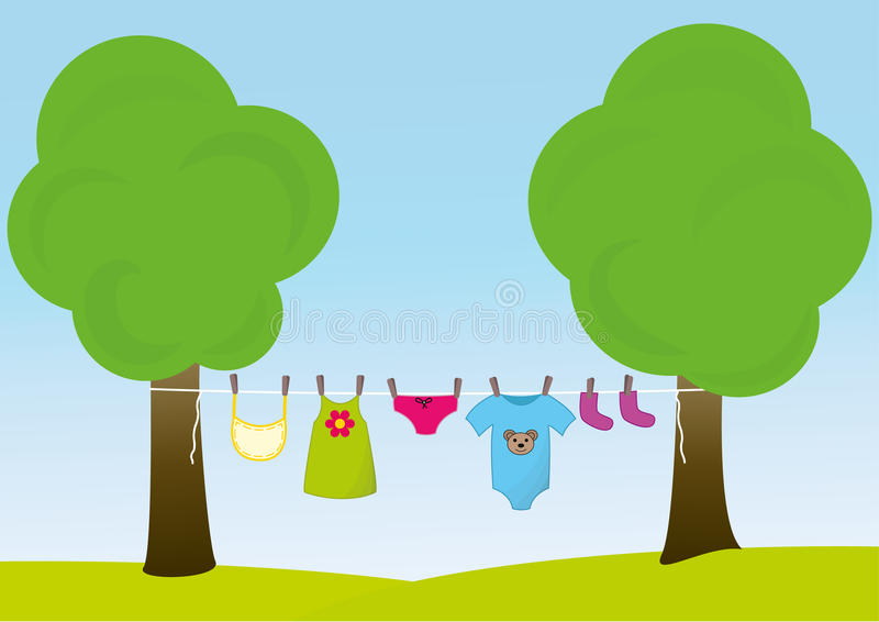 Children clothes on the clothesline. Various baby clothes on the clothesline in exterior vector illustration