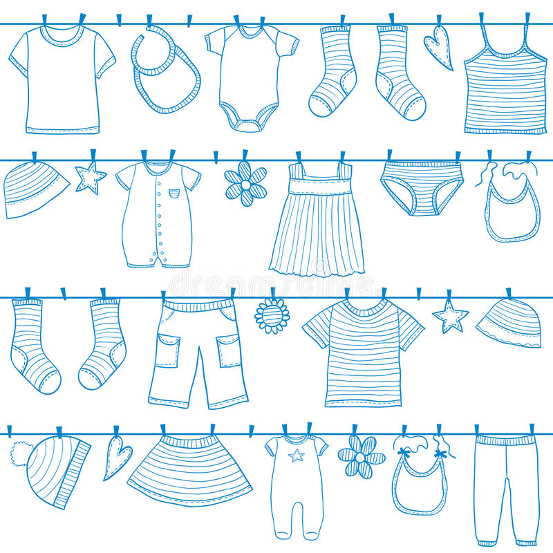 Children clothes on clothesline vector illustration