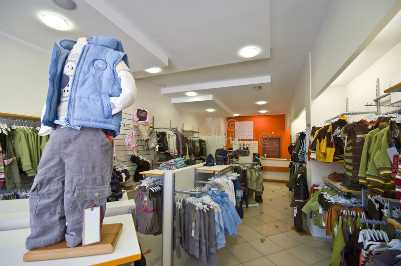 Children clothes shop stock photo