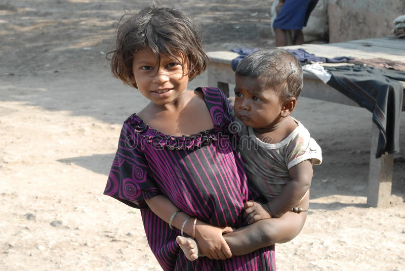 Children At The Coalfield Area. In Jharia many children work in the coal industry as pickers to earn money for their families. The children do not go to school stock photos