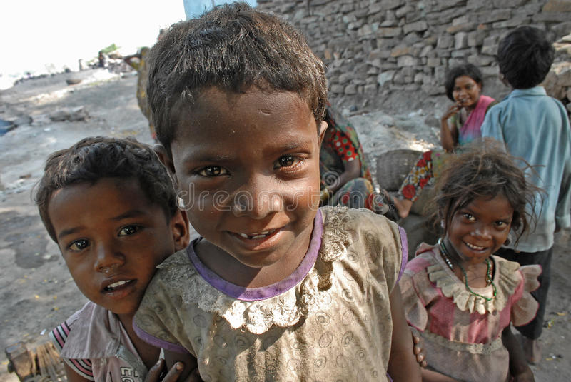 Children At The Coalfield Area. In Jharia many children work in the coal industry as pickers to earn money for their families. The children do not go to school royalty free stock image