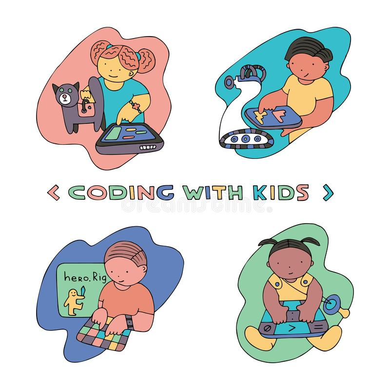 Coding similar. Children coding illustration. Coding for kids articles and sites. Programming education royalty free illustration