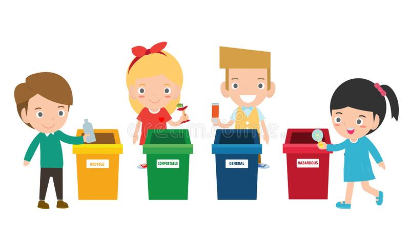 Children collect rubbish for recycling, Illustration of Kids Segregating Trash, recycling trash, Save the World. Boy and girl recycling, Kids Segregating Trash royalty free illustration