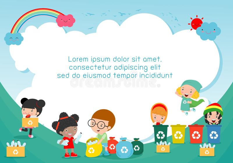 Children collect rubbish for recycling, Kids Segregating Trash, Save the World ,Template for advertising brochure, your text. Vector Illustration stock illustration