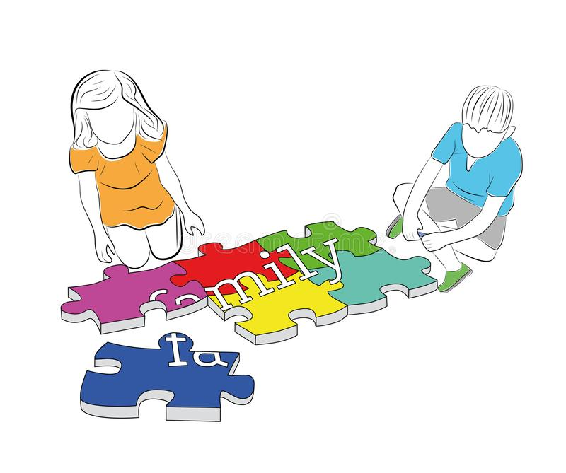 Children collect the word `family` from puzzles. vector illustration. stock illustration