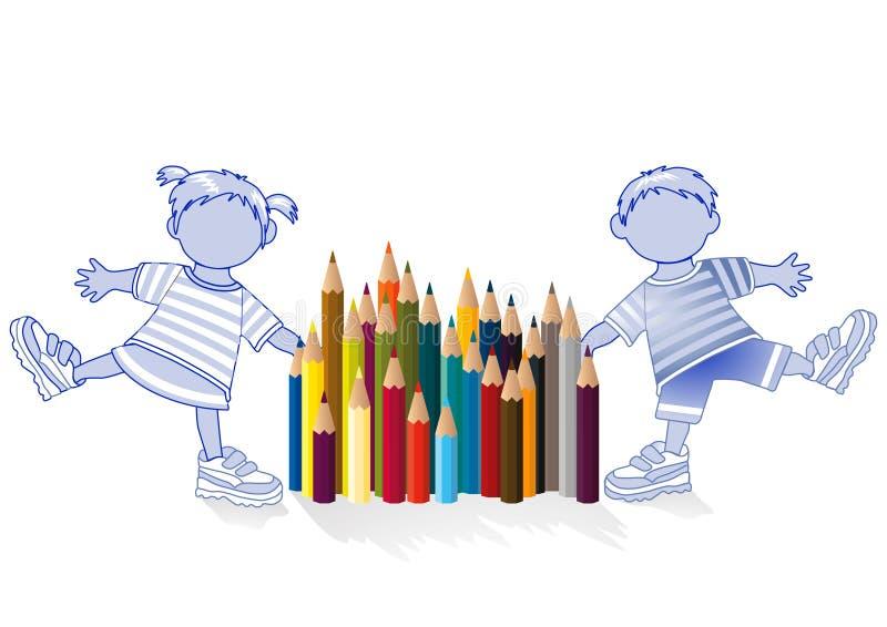 Children and colored pencil vector illustration