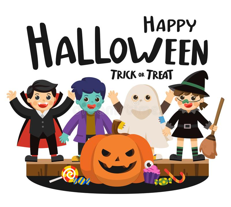Children in colorful costumes and pumpkins with candy. royalty free illustration
