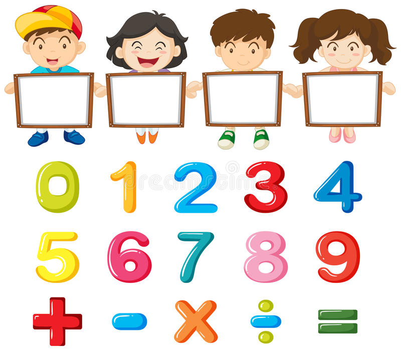 Children and colorful numbers stock illustration
