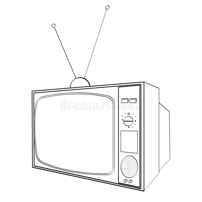 Children coloring, black lines. Electronic equipment, old TV. Imitation of comics style. Vector. Illustration royalty free illustration