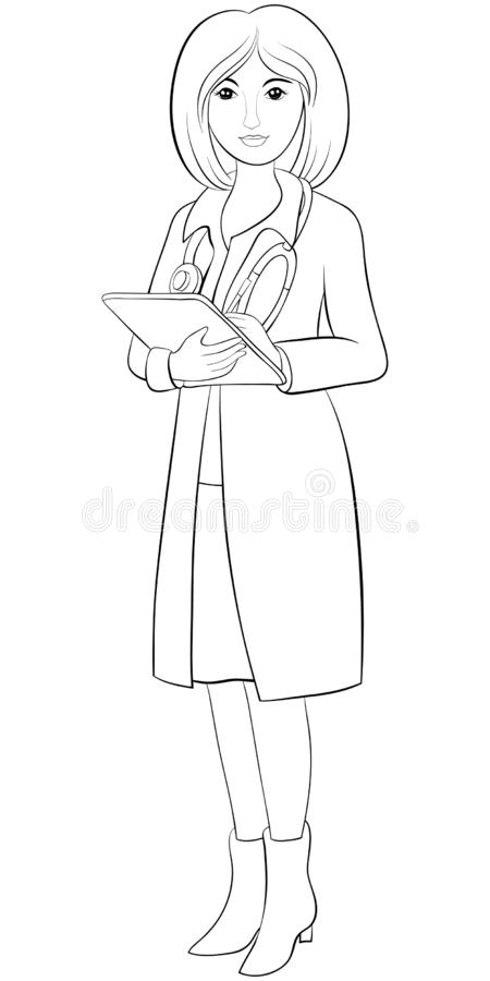 A children coloring book,page a doctor image for relaxing activity.Line art style illustration stock illustration