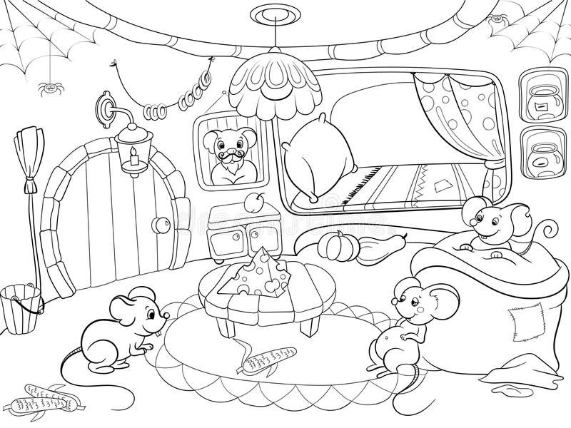 Children coloring cartoon house family mouse vector vector illustration