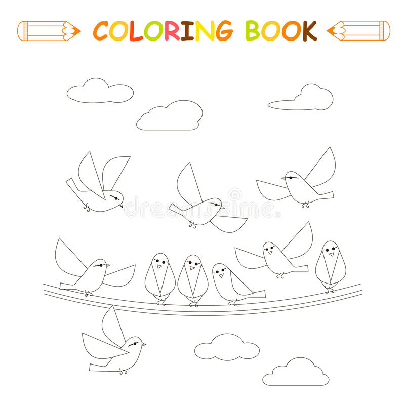 Children coloring page vector illustration, monochrome cute birds royalty free illustration