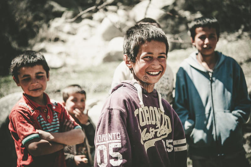 Children coming to School in Skardu, Pakistan. Skardu, Pakistan - April 17, 2015 Children in a village in the south of Skardu are learning in the classroom of royalty free stock photography