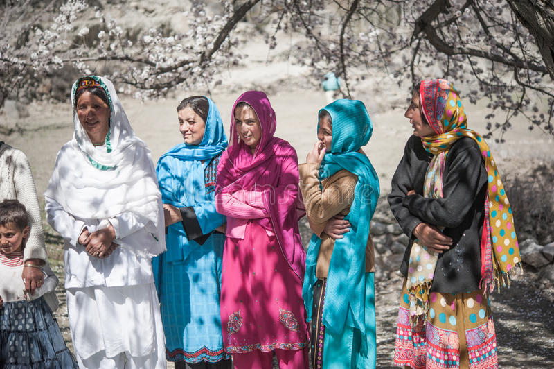 Children coming to School in Skardu, Pakistan. Skardu, Pakistan - April 17, 2015 Children in a village in the south of Skardu are learning in the classroom of stock image