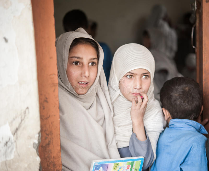 Children coming to School in Skardu, Pakistan. Skardu, Pakistan - April 17, 2015 Children in a village in the south of Skardu are learning in the classroom of royalty free stock photos