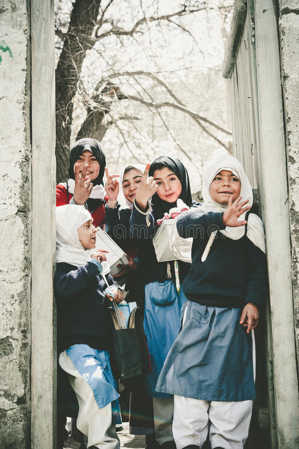 Children coming to School in Skardu, Pakistan. April 17, 2015 Children in a village in the south of Skardu are learning in the classroom of the village school stock image