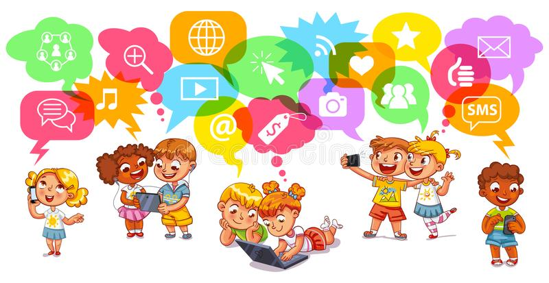 Children communicate with each other through social networks. Social network symbols in Speech Bubbles. Funny cartoon character. Vector illustration. on white stock illustration