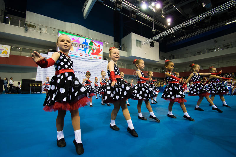 Children compete in the SpringCup international dance competition. MINSK - MAY 02: Unidentified children compete in the SpringCup international dance competition stock photo