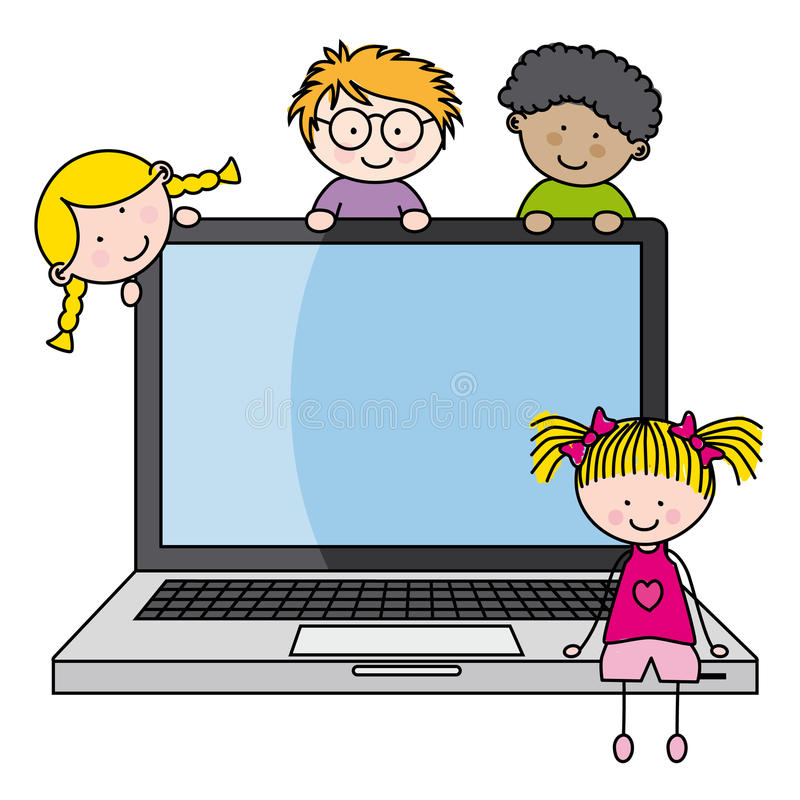 Children with a computer. Funny ilustration, on white background vector illustration