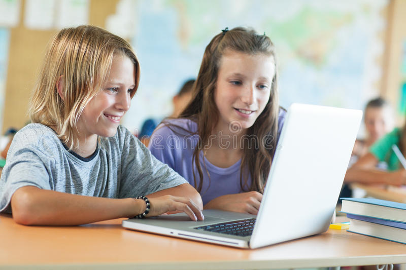 Children in Computer Science Class royalty free stock photos