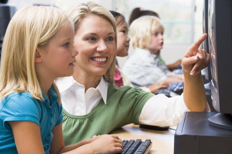 children computers how learn to use στοκ εικόνες