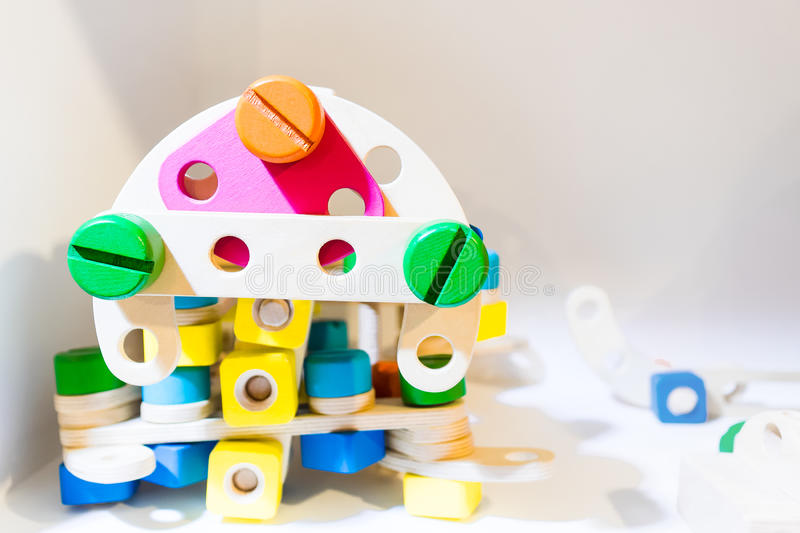 Children Construction educational block toy. royalty free stock images