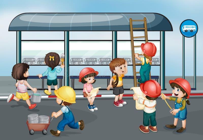 Children at construction site stock illustration
