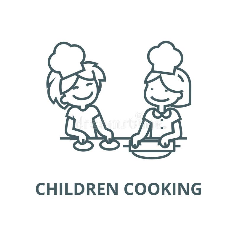 Children cooking line icon, vector. Children cooking outline sign, concept symbol, flat illustration. Children cooking line icon, vector. Children cooking royalty free illustration