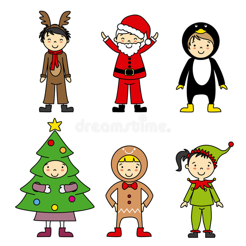 Children in costumes Christmas. Group of children in costumes Christmas royalty free illustration
