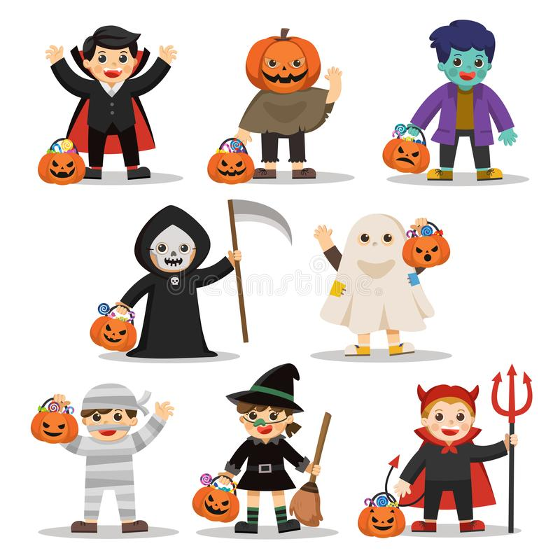 Children in costumes and pumpkin basket with candy. stock illustration