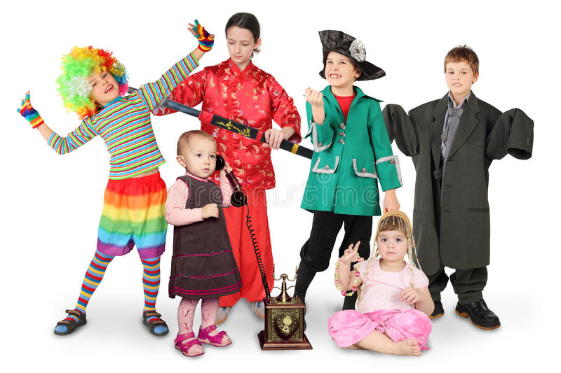 Children in costumes on white royalty free stock photo