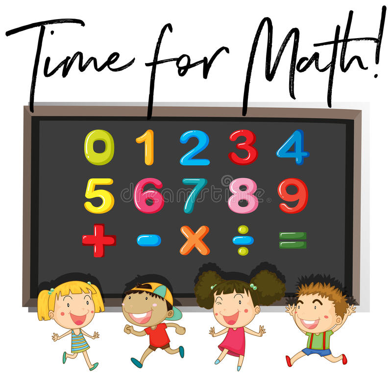 Children counting numbers on board vector illustration