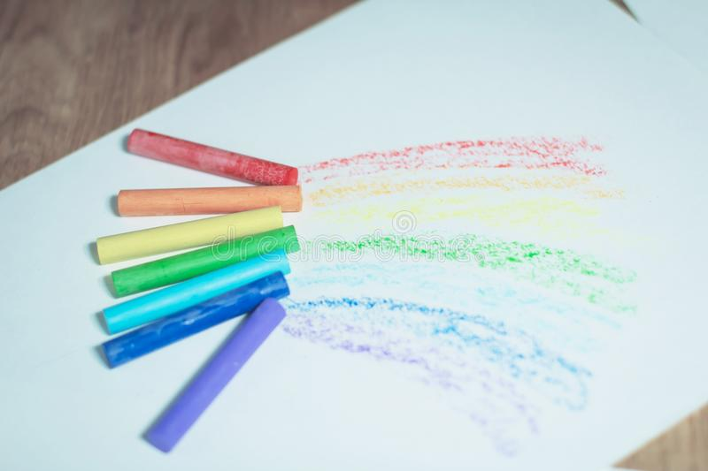 Children crayons to draw.isolated on a white background royalty free stock photography