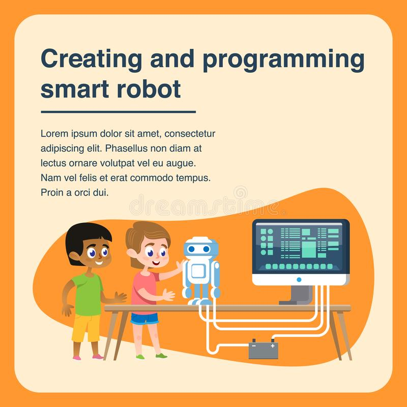 Children Creating and Programming Smart Robot. vector illustration