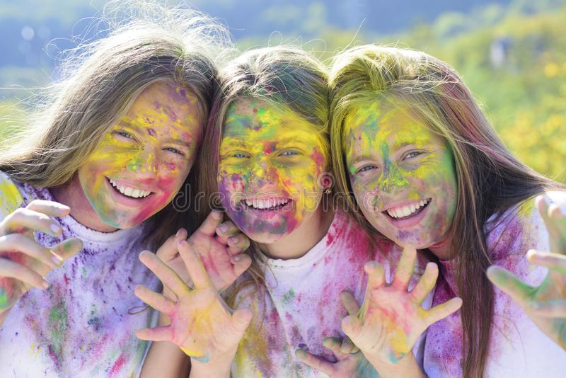 Children with creative body art. Crazy hipster girls. Summer weather. positive and cheerful. colorful neon paint makeup stock images