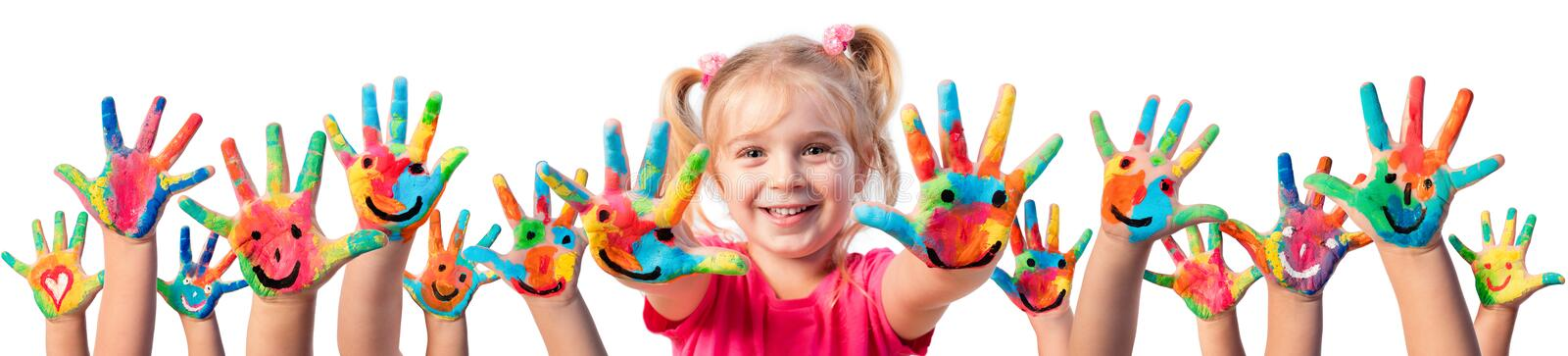 Children In Creativity - Hands Painted stock image