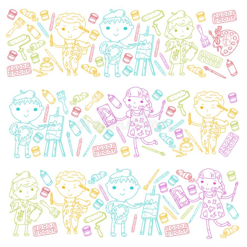 Children creativity Kindergarten, school art Boys and girls drawing and painting pictures Children art and design school royalty free illustration