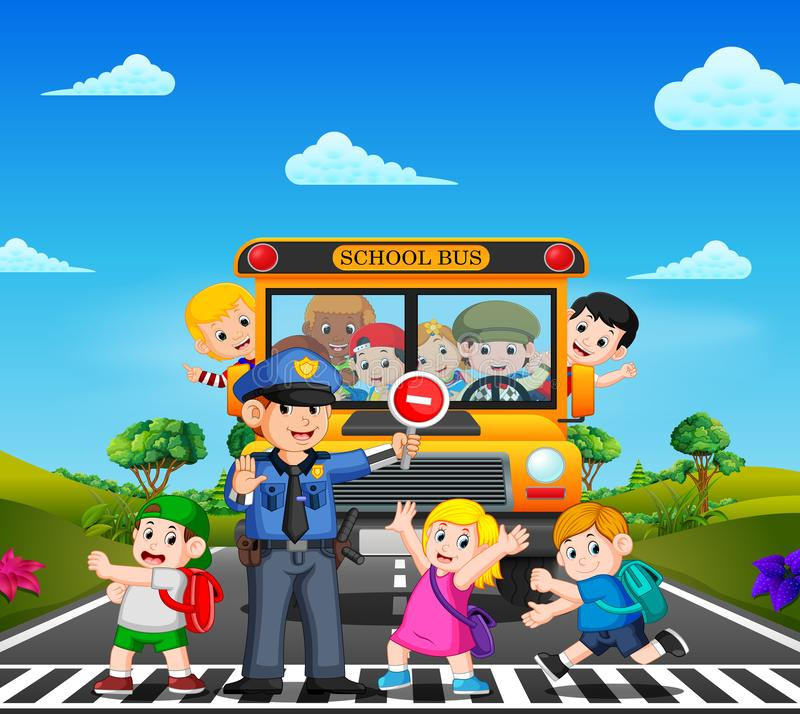 The children cross the road while the police stop the school bus and the children waving vector illustration